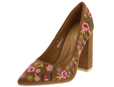 Kena2 Camel Flower Embroidered Pointed Toe Pump Chunky Heel - Wholesale Fashion Shoes