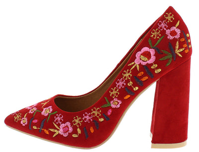 Kena2 Red Flower Embroidered Pointed Toe Pump Chunky Heel - Wholesale Fashion Shoes
