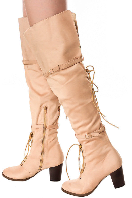 a4d417bfed0 Kendall Beige Dual Lace Up Dual Strap Over the Knee Boot - Wholesale  Fashion Shoes