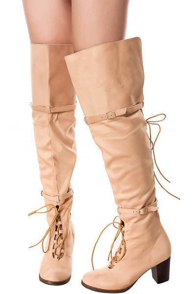 Kendall Beige Dual Lace Up Dual Strap Over the Knee Boot - Wholesale Fashion Shoes