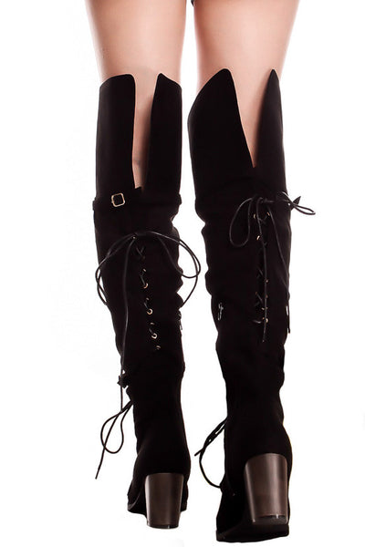 Kendall Black Dual Lace Up Dual Strap Over the Knee Boot - Wholesale Fashion Shoes