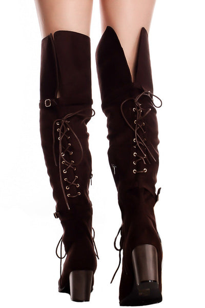 Kendall Brown Dual Lace Up Dual Strap Over the Knee Boot - Wholesale Fashion Shoes