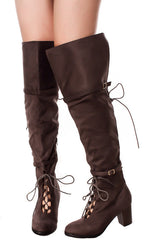 KENDALL GREY DUAL LACE UP DUAL STRAP OVER THE KNEE BOOT - Wholesale Fashion Shoes - 2