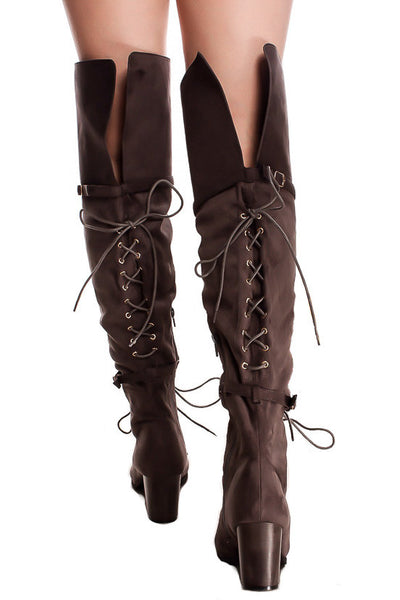 Kendall Grey Dual Lace Up Dual Strap Over the Knee Boot - Wholesale Fashion Shoes