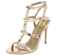 Kendra01 Rose Gold Studded Gladiator Cut Out Heel - Wholesale Fashion Shoes