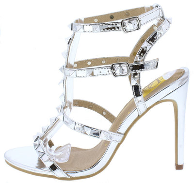 Kendra01 Silver Studded Gladiator Cut Out Heel - Wholesale Fashion Shoes