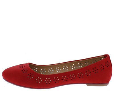 Kendra07 Red Round Toe Laser Cut Ballet Flat - Wholesale Fashion Shoes