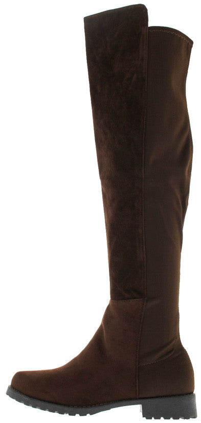 Kendra1 Brown Faux Suede Knee High Boot - Wholesale Fashion Shoes