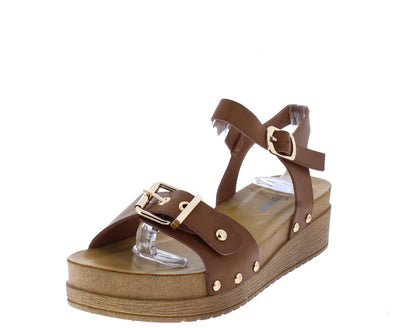 Kenly47 Brown Buckle Open Toe Cut Out Ankle Strap Sandal - Wholesale Fashion Shoes