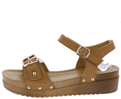 Kenly47 Tan Buckle Open Toe Cut Out Ankle Strap Sandal - Wholesale Fashion Shoes