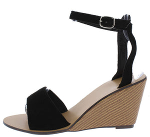 e851a0d1b2f4 Ana161 Black Open Toe Ankle Strap Stacked Wood Wedge - Wholesale Fashion  Shoes