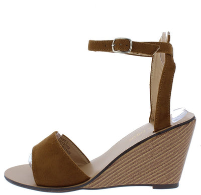 Ana161 Tan Open Toe Ankle Strap Stacked Wood Wedge - Wholesale Fashion Shoes
