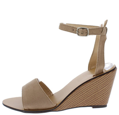 Ana161 Taupe Open Toe Ankle Strap Stacked Wood Wedge - Wholesale Fashion Shoes