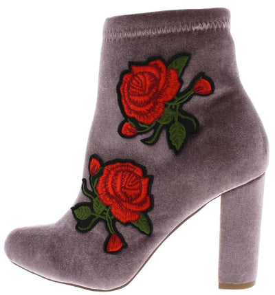 Maya218 Taupe Rose Embroidered Heel Ankle Boot - Wholesale Fashion Shoes