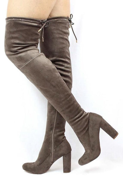 Eva143 Taupe Drawstring Almond Toe Thigh High Boot - Wholesale Fashion Shoes