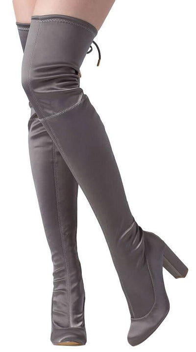 Zane284 Grey Satin Fitted Thigh High Drawstring Boot - Wholesale Fashion Shoes