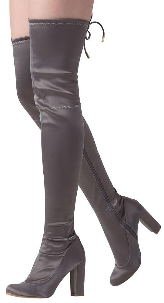 bc54c1d0f6720 Zane284 Grey Satin Fitted Thigh High Drawstring Boot - Wholesale Fashion  Shoes