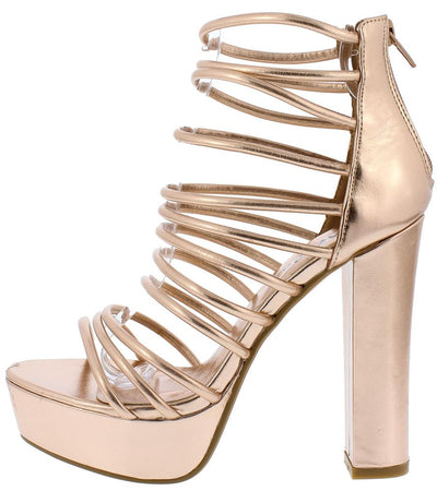 Kersen01 Rose Gold Strappy Open Toe Chunky Platform Heel - Wholesale Fashion Shoes