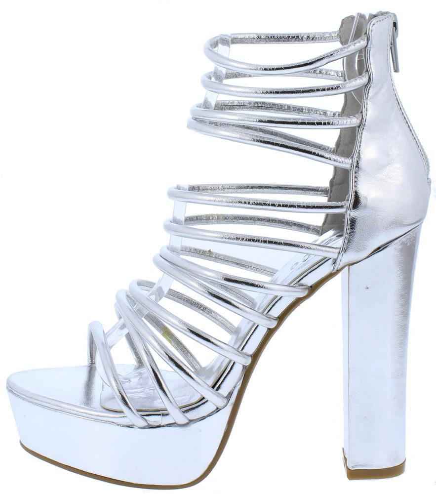 7bc7a7ecbf4a81 Kersen01 Silver Strappy Open Toe Chunky Platform Heel - Wholesale Fashion  Shoes