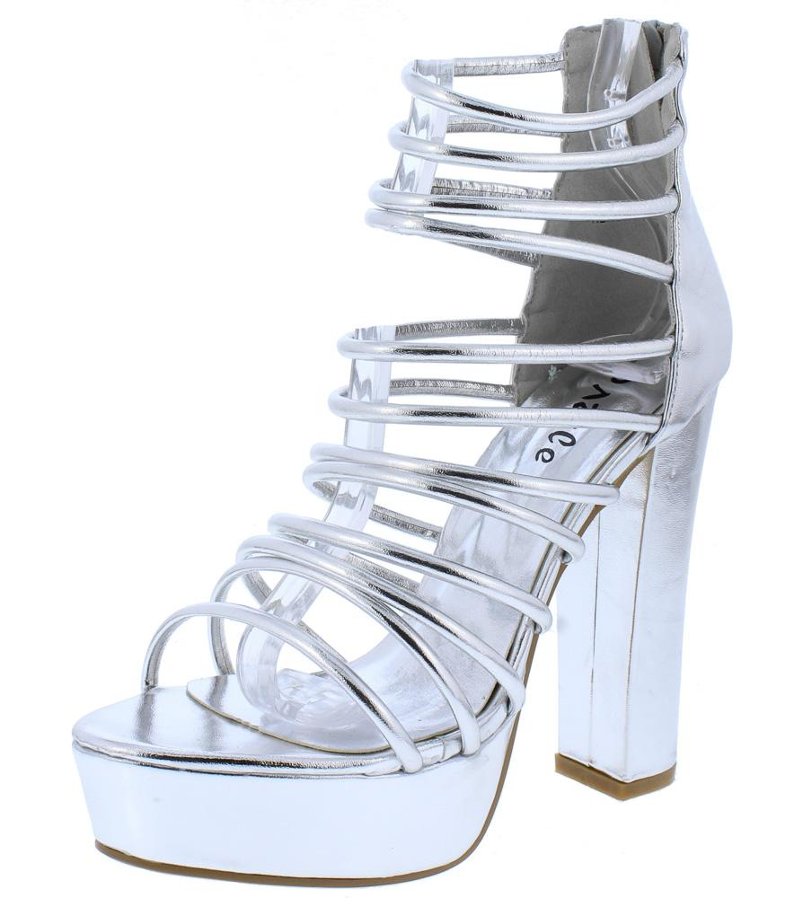 e7064ec27e3 Kersen01 Silver Strappy Open Toe Chunky Platform Heel - Wholesale Fashion  Shoes