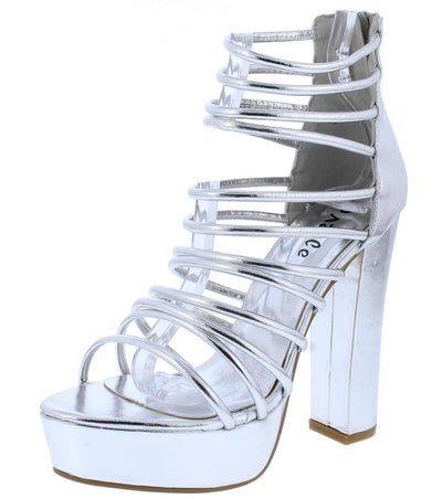 Kersen01 Silver Strappy Open Toe Chunky Platform Heel - Wholesale Fashion Shoes