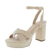 Ava29 Nude Cross Strap Open Toe Ankle Strap Platform Heel - Wholesale Fashion Shoes
