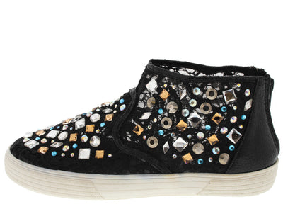 Kicker06h Black Embellished Lace Flat - Wholesale Fashion Shoes