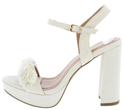 Kierra10 Beige Denim Frayed Chunky Platform Heel - Wholesale Fashion Shoes