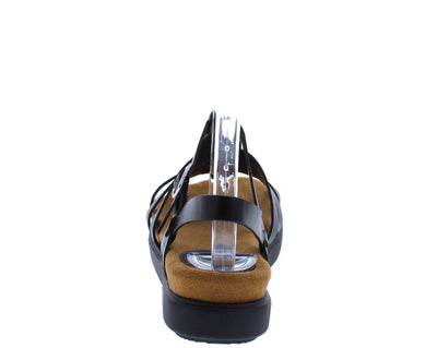 Kiki06 Black Mult Strap Open Toe Slingback Sandal - Wholesale Fashion Shoes