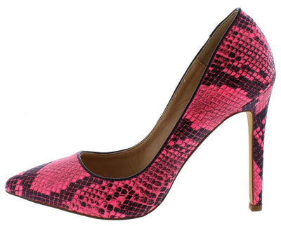 Kim Pink Snake Pointed Toe Stiletto Heel - Wholesale Fashion Shoes