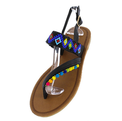 Kimmy09 Black Multi Color Mini Pom Pom Beaded Slingback Thong Sandal - Wholesale Fashion Shoes