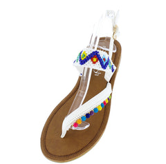 KIMMY09 WHITE MULTICOLOR MINI POM POM BEADED THONG SANDAL - Wholesale Fashion Shoes