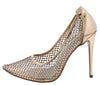Jannette174 Rose Gold Sparkle Mesh Pointed Toe Stiletto Heel - Wholesale Fashion Shoes