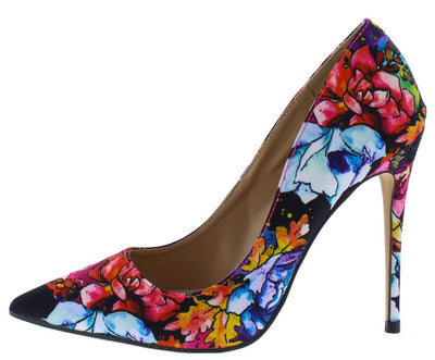 Maribel259 Floral Pointed Toe Stiletto Pump Heel - Wholesale Fashion Shoes