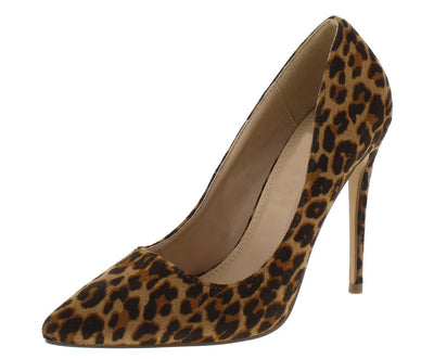 Maribel259 Leopard Pointed Toe Stiletto Pump Heel - Wholesale Fashion Shoes
