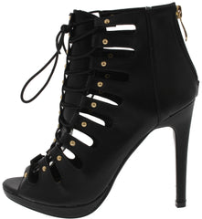 KINAJLL2 BLACK  STUDDED LACE UP CAGE HEEL - Wholesale Fashion Shoes - 1