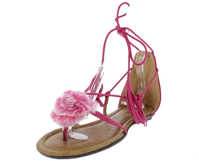 Kindly3 Fuchsia Thong Pom Pom Ghillie Ankle Tie Sandal - Wholesale Fashion Shoes