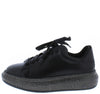Irene069 Black Sparkle Sole Lace Up Sneaker Flat - Wholesale Fashion Shoes