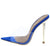 Kingking Blue Lucite Pointed Peep Toe Mule Stiletto Heel