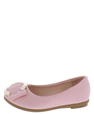 Kinsella28k Pink Accent Round Toe Ballet Kids Flat - Wholesale Fashion Shoes