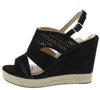 Kinsley01 Black Open Toe Cut Out Laser Cut Slingback Wedge - Wholesale Fashion Shoes