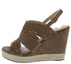 Kinsley01 Taupe Open Toe Cut Out Laser Cut Slingback Wedge - Wholesale Fashion Shoes