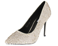 MARYAM116 CHAMPAGNE SEQUIN POINTED TOE STILETTO HEEL - Wholesale Fashion Shoes