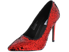MARYAM116 RED SEQUIN POINTED TOE STILETTO HEEL - Wholesale Fashion Shoes