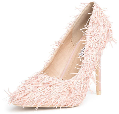 Kitana53 Mauve Shag Fringe Pointed Toe Stiletto Heel - Wholesale Fashion Shoes