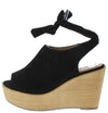 Kite04 Black Peep Toe Ankle Tie Platform Wood Wedge - Wholesale Fashion Shoes