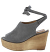 Kite04 Grey Peep Toe Ankle Tie Platform Wood Wedge - Wholesale Fashion Shoes