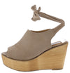 Kite04 Taupe Peep Toe Ankle Tie Platform Wood Wedge - Wholesale Fashion Shoes
