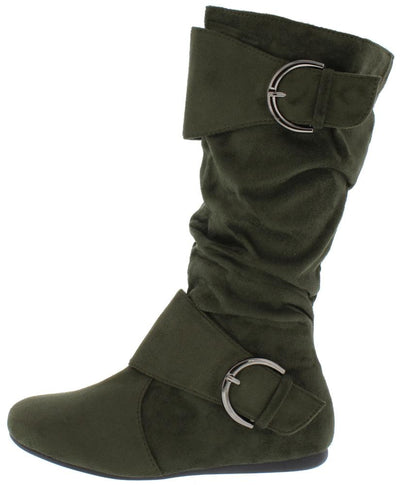 Klein70 Olive Almond Toe Dual Buckle Mid Calf Boot - Wholesale Fashion Shoes