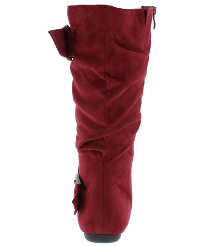 Klein70 Burgundy Almond Toe Dual Buckle Mid Calf Boot - Wholesale Fashion Shoes